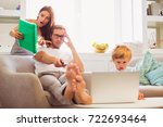 the young serious man sitting... | Shutterstock . vector #722693464