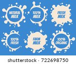 splash and blot milk labels ... | Shutterstock . vector #722698750
