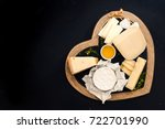 various types of cheese on a... | Shutterstock . vector #722701990