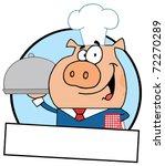 cartoon logo mascot waiter pig... | Shutterstock . vector #72270289