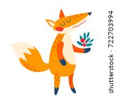 cartoon red  fox.  | Shutterstock .eps vector #722703994