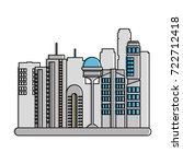 cityscape futuristic buildings... | Shutterstock .eps vector #722712418