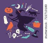 happy halloween design elements ... | Shutterstock .eps vector #722713180