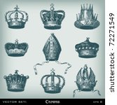Vintage Crowns Set. Vector...
