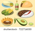 mexican traditional food meal... | Shutterstock .eps vector #722716030