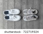 new and old dirty white sneaker ... | Shutterstock . vector #722719324