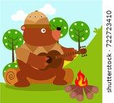 animal safari series. cute... | Shutterstock .eps vector #722723410