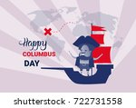 happy columbus day national usa ...   Shutterstock .eps vector #722731558