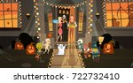 kids wearing monsters costumes... | Shutterstock .eps vector #722732410
