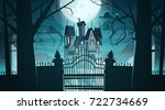gothic castle behind gates in... | Shutterstock .eps vector #722734669