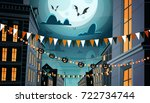city decorated for halloween... | Shutterstock .eps vector #722734744