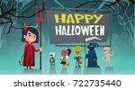 happy halloween banner holiday... | Shutterstock .eps vector #722735440