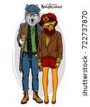 vector fox girl and wolf boy....   Shutterstock .eps vector #722737870