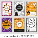 halloween set of trendy posters.... | Shutterstock .eps vector #722741320