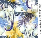 watercolor exotic seamless... | Shutterstock . vector #722741830