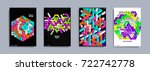 colorful covers design set.... | Shutterstock .eps vector #722742778