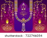 happy diwali festival card with ... | Shutterstock .eps vector #722746054