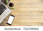 office desk table with laptop... | Shutterstock . vector #722749063