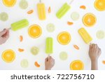summer ice blocks in orange ... | Shutterstock . vector #722756710