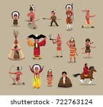 native american people poses... | Shutterstock .eps vector #722763124