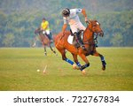 horse polo player use mallet... | Shutterstock . vector #722767834