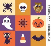 super cute halloween icons.... | Shutterstock .eps vector #722768533