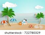 summer background in paper cut... | Shutterstock .eps vector #722780329
