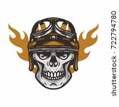 skull mascot biker road rider... | Shutterstock .eps vector #722794780