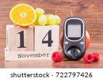 date of 14 november on cube... | Shutterstock . vector #722797426