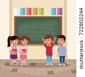 kids in classroom | Shutterstock .eps vector #722802244