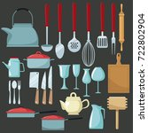 kitchen utensils icons | Shutterstock .eps vector #722802904
