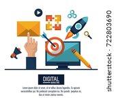 digital marketing and... | Shutterstock .eps vector #722803690