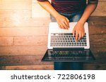 young woman working on laptop... | Shutterstock . vector #722806198