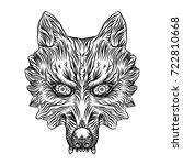 angry wolf head. wolf blackwork ...   Shutterstock .eps vector #722810668