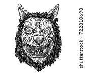 angry smiling cunning wolf...   Shutterstock .eps vector #722810698