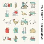 farming icons set. farm... | Shutterstock .eps vector #722811763