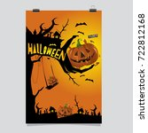 happy halloween poster. vector... | Shutterstock .eps vector #722812168