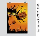 happy halloween poster. vector... | Shutterstock .eps vector #722812168