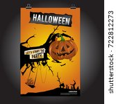happy halloween poster. vector... | Shutterstock .eps vector #722812273