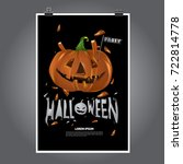 happy halloween poster. vector... | Shutterstock .eps vector #722814778