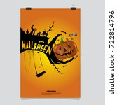 happy halloween poster. vector... | Shutterstock .eps vector #722814796