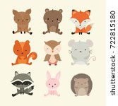 Stock vector set of cute illustration of woodland animals 722815180