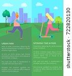 spending time in urban park... | Shutterstock .eps vector #722820130