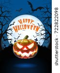 jack o lantern glowing at... | Shutterstock .eps vector #722822098
