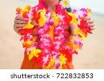 beautiful floral hawaiian lei... | Shutterstock . vector #722832853