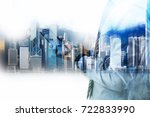 double exposure of businessman... | Shutterstock . vector #722833990