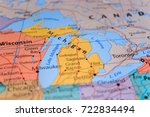 wisconsin michigan on the map | Shutterstock . vector #722834494