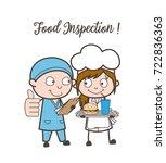 cartoon food inspector approved ... | Shutterstock .eps vector #722836363