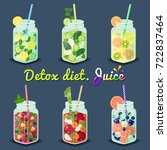 detox diet juices of different... | Shutterstock .eps vector #722837464