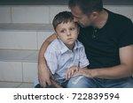 portrait of young sad little... | Shutterstock . vector #722839594